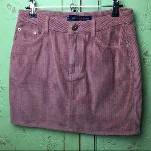 USED Dusty Pink Corduroy Mini Skirt size 10